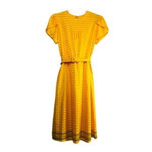 Vintage 80s Secretary Dress Belted Golden Yellow S